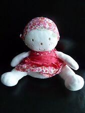 D6- Doudou poupée Fille  MARESE robe fichu rose  18 cms assis - EXCELLENT ETAT