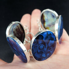 Large BLUE PAUA ABALONE SHELL & 925 Sterling Silver Bracelet Jewellery, Modern