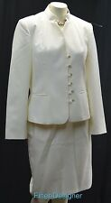 MetroStyle career blazer jacket 2 piece skirt suit cream Dress Suit 2pc 10 M NEW