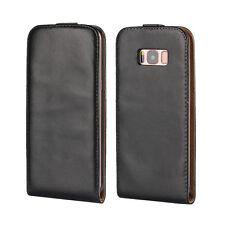 For Samsung Galaxy S8 Black Genuine Real Leather Classic Slim Case Cover Skin