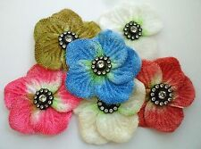 12pcs Velvet Felt Flower w/Rhinestones Bead Appliques Muti color 50mm