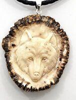 Hand Carved Wolf Spirit Medicine Totem Pendant