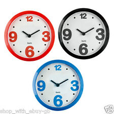 MINI MAGNETIC CLOCK - MODERN FRIDGE / HOME / OFFICE - ANALOGUE - BLUE RED BLACK