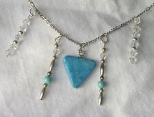 Sterling Silver Swarovski Crystal Beads Turquoise Dangle Necklace