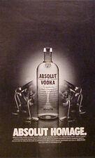 "2003 Absolut Vodka Distillery~HOMAGE~BLACK LETTER~SMALL~MINI~5"" x 8 1/2"" AD"