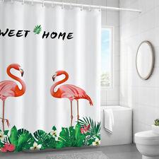 Thick Shower Curtains Set for Bathroom,Shower Curtain +Hooks,Flamingo Decor