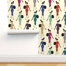 Removable Water-Activated Wallpaper Women Modern Cameo Empowered Monochrome