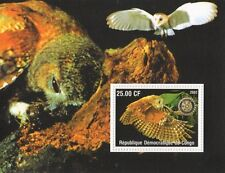 OWLS NOCTURNAL BIRDS ROTARY INTERNATIONAL CONGO 2002 MNH STAMP SHEETLET