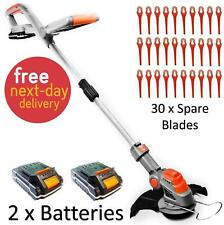 More details for cordless strimmer electric grass trimmer garden edger 2x batteries 30x blades