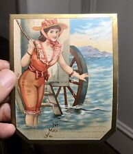 Lovely Victorian Mill Material Order Dispatch Label-Pretty Ladies-Bathing Belle