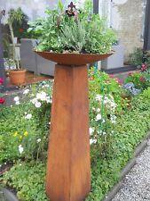 COLONNE cône H.118 PLANTATION JARDIN MÉTAL ROUILLE patine Stèle sculpture