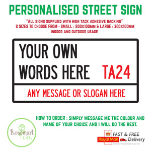 Personalised London Street Sign Metal Wall Door Bedroom Plaque Family Gift Print
