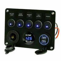 5Gang Blau LED Schaltpanel Schalter Schalttafel Voltmeter USB 12/24V Bus Boot RV