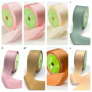 100% Hand Dyed Pure Silk Ribbon 32mm Wedding Card Making Sewing - by the metre