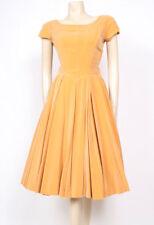 ORIGINAL VINTAGE 1950's 50's MUSTARD YELLOW VELVET FULL TEA EVENING DRESS! UK 8