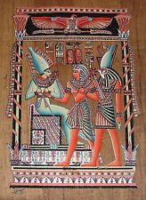 Egyptian Hand-painted Papyrus Art: Osiris, Seti and Horus Dark Papyrus SIGNED