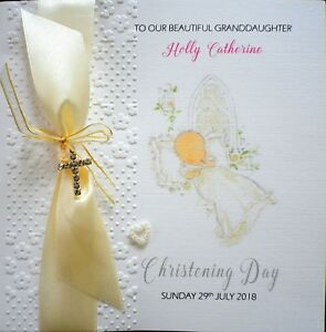 Hand made Personalised Embossed Christening Day Card with Ribbon & Cross