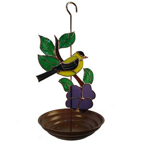 Hanging Bird Feeder with Stained Glass Goldfinch with Flower