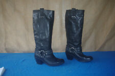 """WOMEN'S BLACK LEATHER FRYE 17.5"""" TALL PULL ON HARNESS HEELED BOOTS SIZE 7.5 B!!"""