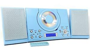 CD Player with USB GTMC-101 Blue Micro Stereo Hi Fi Aux In Clock Alarm & Radio