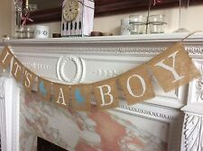Its A Boy Hessian Burlap Bunting Garland Sign Baby Shower Banner Vintage Rustic