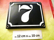 Hausnummer Emaille Nr. 7 weisse Zahl auf blauem Hintergrund 12 cm x 10 cm