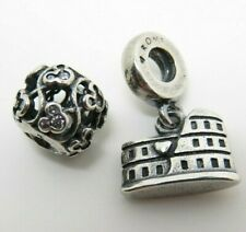 Two Pre Loved Silver PANDORA Charms Bead & Dangle Colosseum Rome Charm