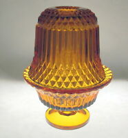 Indiana Glass Tiara Amber Diamond Point Fairy Lamp Candle Holder Vintage