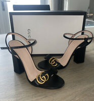 Black Gucci Leather Heeled Sandals Size 38