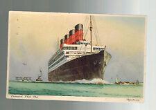 1937 Rio de Janeiro Brazil Postcard Cover to Usa Passenger Liner ship Aquatania