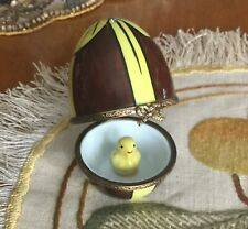 Limoges Box Easter Chocolate Egg With Yellow Bow & Chick Inside~Excellent!Wow