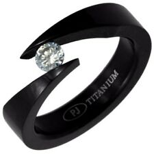Black Plated TITANIUM Bypass Tension Ring with 5mm CZ, size 9 -NEW- in Gift Box