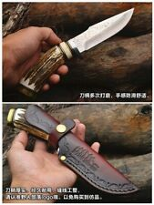 Hunting Handmade Knife Fixed Blade Damascus Steel Antlers Cowhide Handle Sheath