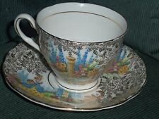 Colclough Cup and Saucer Gold Chintz Design with Victorian Lady Bone China EC