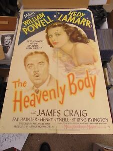 """William Powell Hedy Lamarr The Heavenly Body Original 27x41"""" Movie Poster N1849"""