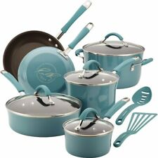 New listing Rachael Ray Cucina 12 Piece Aluminum Non Stick Cookware Set, Agave Blue