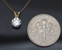 Round Solitaire Cut 14K Yellow Gold Pendant Necklace With Box Chain 0.50Ct