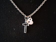 Hand Stamped Initial Heart Cross Necklace, Dainty Initial Heart Charm Necklace