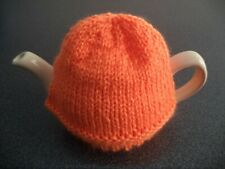 TEA COSY - HAND KNITTED & SUITABLE FOR SMALL 1 to 2 CUP TEAPOTS - ORANGE