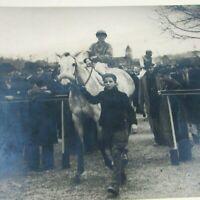 Circa 1930 Sepia Photo Dappled Gray Racehorse & Jockey 9 x 6 3/4 horse racing