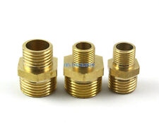 "10 Brass Male 3/8"" To 1/4"" BSP Pipe Hex Reducing Nipple Fitting Hose Connector"