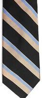"Bullock & Jones Men's Silk Tie 58"" X 3.25"" Black/Blue/Tan American Striped"