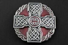 Grande Rosso & Nero CELTIC CROSS & nodi Metallo Cintura Fibbia gaelico scozzese