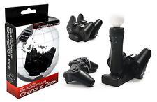 PS3 Ladestation PlayStation 3 für 2 Controller Move VR USB Twin Dual Kabel LED