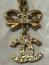 Authentic Coco CHANEL Vintage CC Logo & Bow Rhinestone Gold Necklace & Pendant