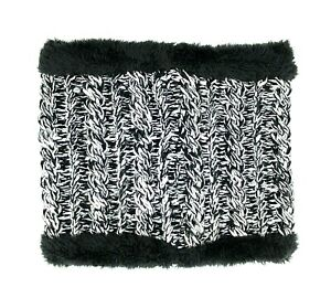 Men Women Unisex Black and Gray Winter Soft and Fluffy Knit Neck Warmer Wrap