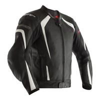 RST R-Sport CE Leather Motorcycle Motorbike Jacket - Black / White