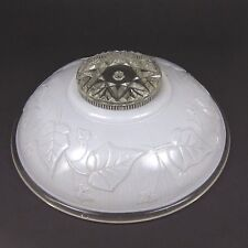 Vintage Glass Lamp Shade White Clear Ivy Design Ceiling Light One Center Hole