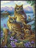 Owls in The Wilderness - Chart Counted Cross Stitch Patterns Needlework DIY