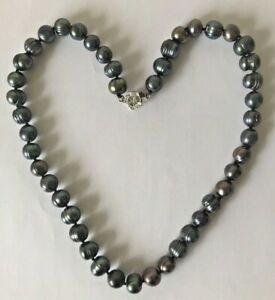 Baroque Tahitian Black Pearl Cultured Necklace 925 Silver Clasp, Weight 47.1g